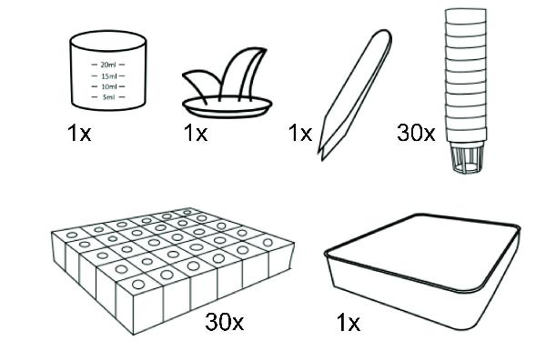 VegeBOX Accessories kit including: 30pcs planting basket, 30pcs sponge, 5pcs cap, 1pcs seed box, non-woven bag, user manual, measuring cup, tweezer.