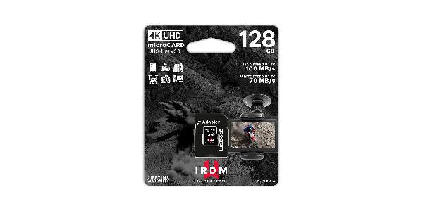 Gooodram 128 GB Micro Card IRDM (Micro SD), V30, UHS I U3 + adapter, 100/70 MB/s